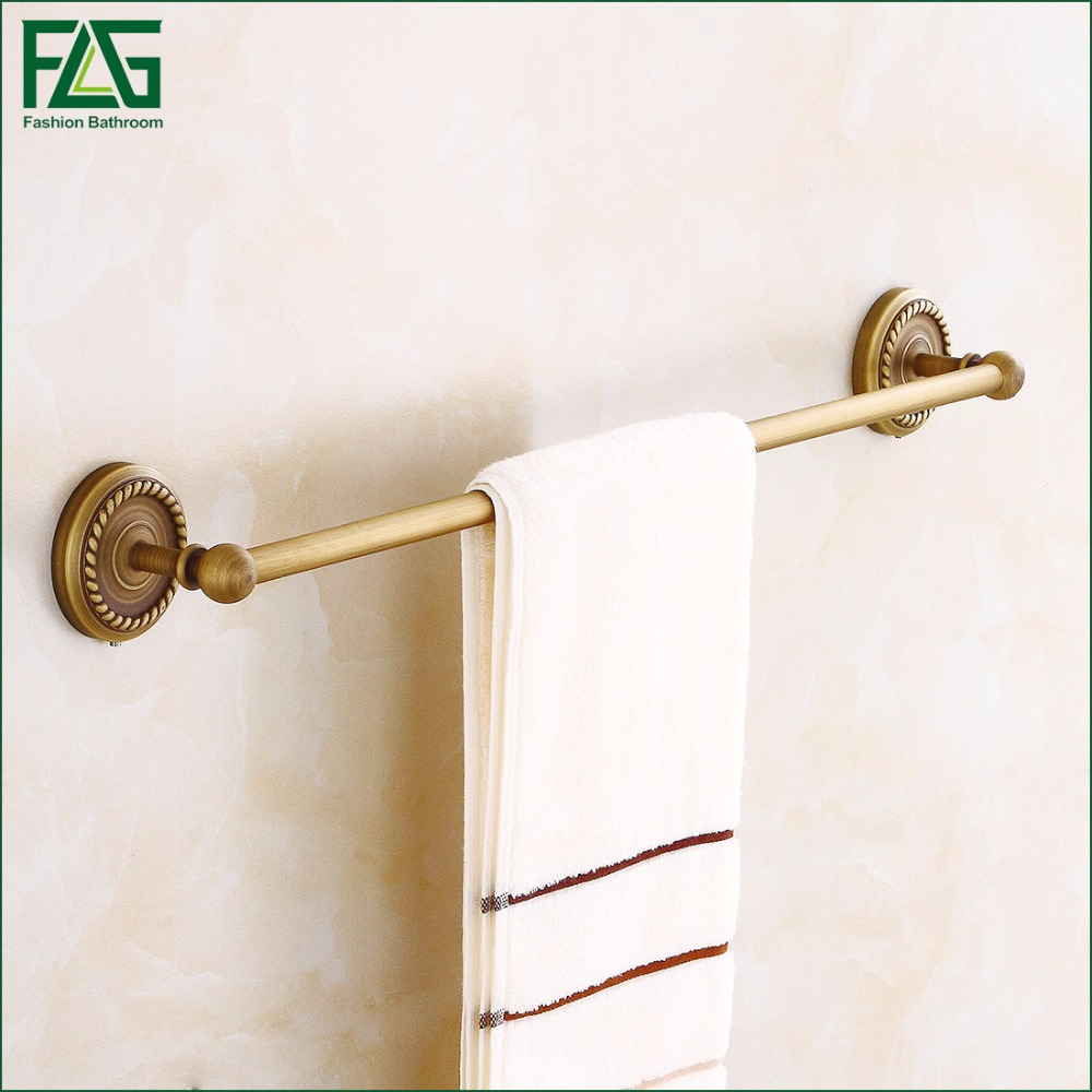 FLG New Space Antique Wall-Mounted Bathroom Towel Holders Towel Bars Towels Racks Hanger Single Towel Bar Set High Quality 80107 aothpher chrome 60cm wall mounted bathroom chrome polish towel bars towels racks stainless single towel bar for bathroom