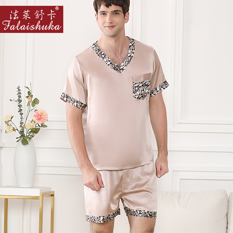 19 Momme 100% Silk Shorts Pajamas Sets Men Sleepwear 100% Mulberry Silk Short Sleeve Summer Male Elegant Pyjamas Men T9045