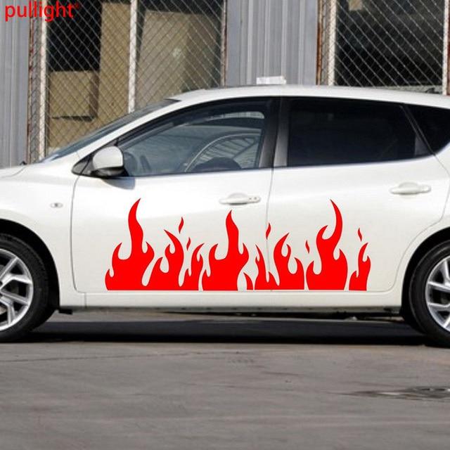 1 pair car hot fire flames door decals vinyl side stickers