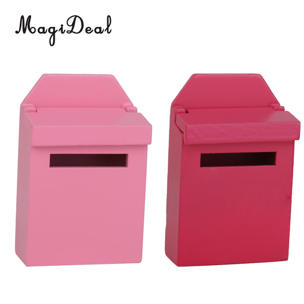MagiDeal Brand New 2 Colors Dollhouse Decor Miniature Wooden Mail Box 1/12 Scale for Garden Acce Kids Children Play Lovely Toy