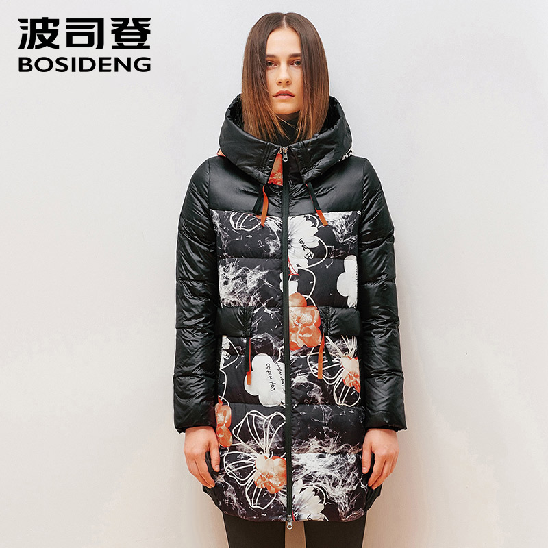 BOSIDENG women winter   down   jacket long duck   down     coat   big front pocket thick warm hood parka high quality B1501208