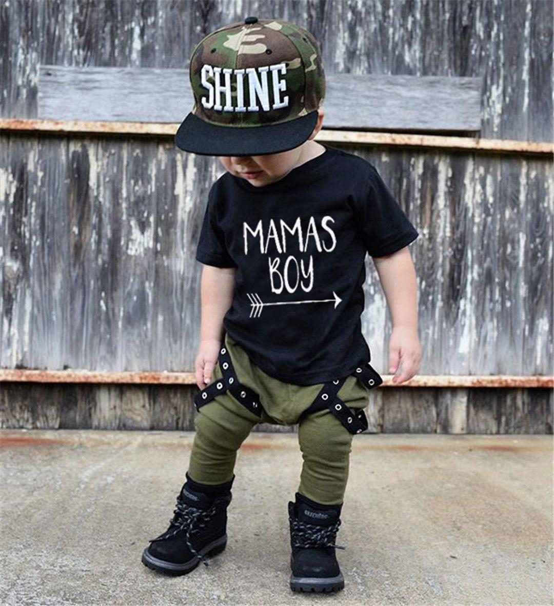 2018 Summer Kids Boys Clothes Set Casual Children's Set Soft Baby Boy Mama's boy Set T shirt Tops & Harem Pants Kids Set