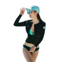 Women Beach Suit Sexy Three Pieces Long Sleeves Rash Guards Lady Swimwear Wetsuits Rashguard Diving Sportswear