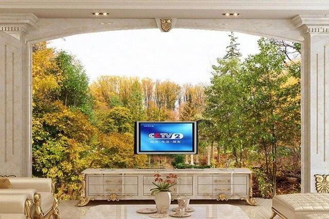 Natuur Behang Slaapkamer : Grote muurschilderingen usa parken vijver herfst bomen tuinen