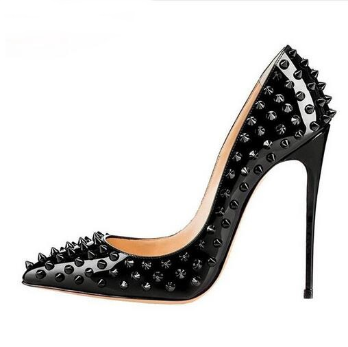 Sexy Metal Rivets Studs Pumps Stilettos Heel Pointed Toe Ladies Spikes Shoes Slip on Patent Leather Dress Shoes High Heels Shoes power knee stabilizer pads lazada