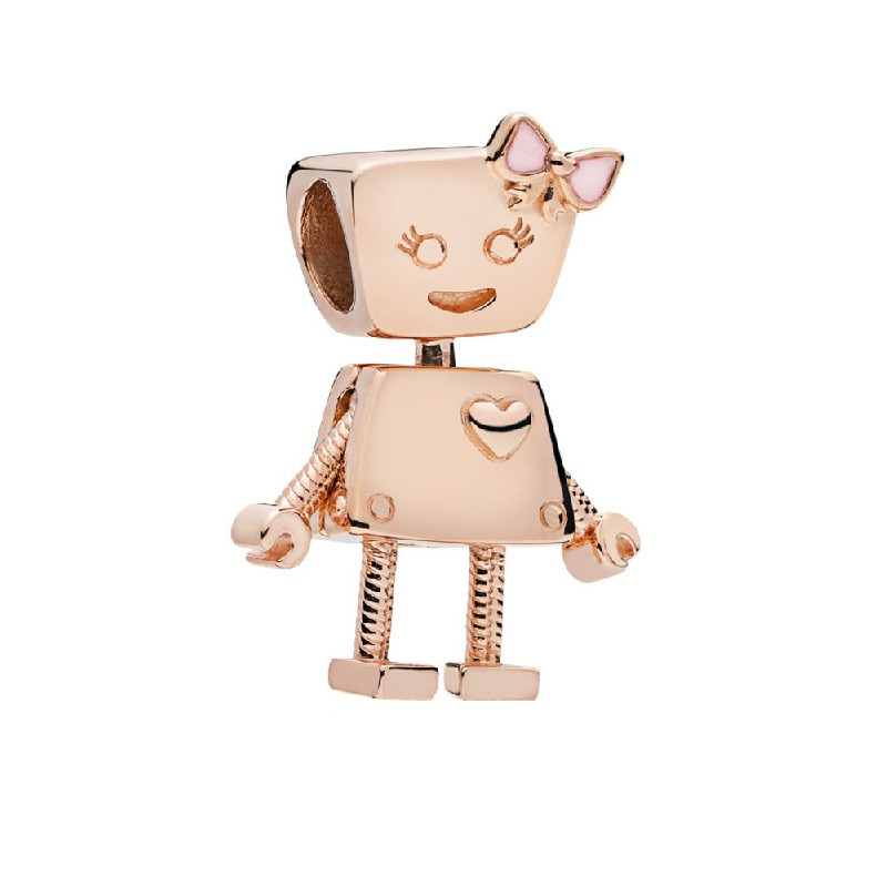Beads Responsible Rose Gold Cute Bella Bot Beads Moving Arms & Legs Soft Pink Enamel Bow Diy Fit Pandora Charms For Women Jewelry Making Rf003