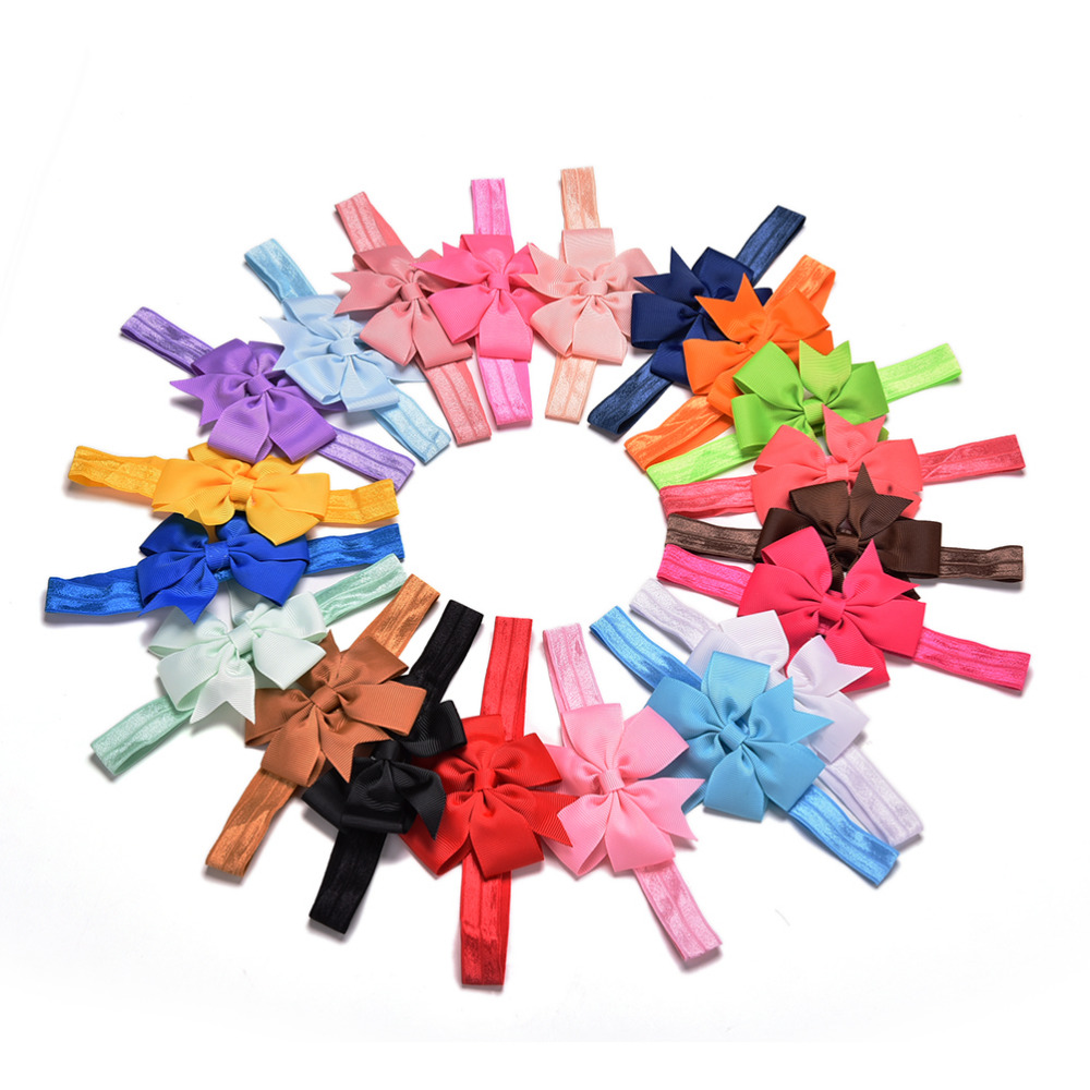 20pcs/lot Girl Hair Bow Headband For Newborn Infant Toddler Hair Accessories DIY Grosgrain Ribbon Bow Elastic Hair Bands 12pcs lot 4 inch diy grosgrain ribbon bow with clip kids hairpins children hair accessories 12 colors hairpins factory wholesale