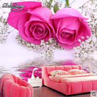 Beibehang HD Rosa Romantica Camera Da Letto Wallpaper Murale di Grandi Dimensioni Del Fiore di Cerimonia Nuziale Camera Da Letto Sfondo Carta Da Parati papel de parede