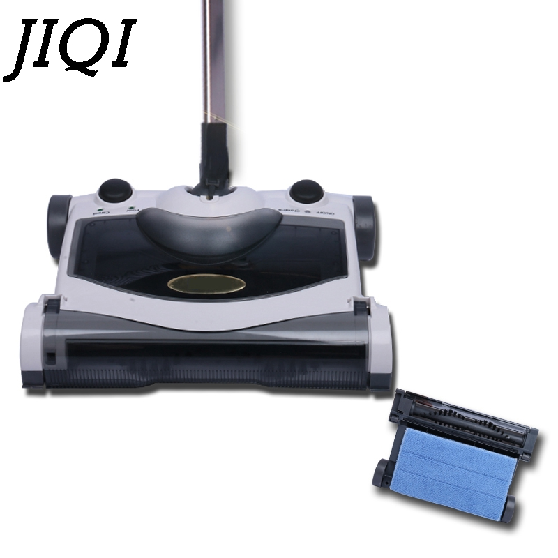 JIQI Sweeping mop robot hand push Foldable cordless rechargeable sweeper mopping automatic drag broom vacuum cleaner EU US plug hand push sweeper broom household cleaning without electricity 4 colors for choose 2017 new sale