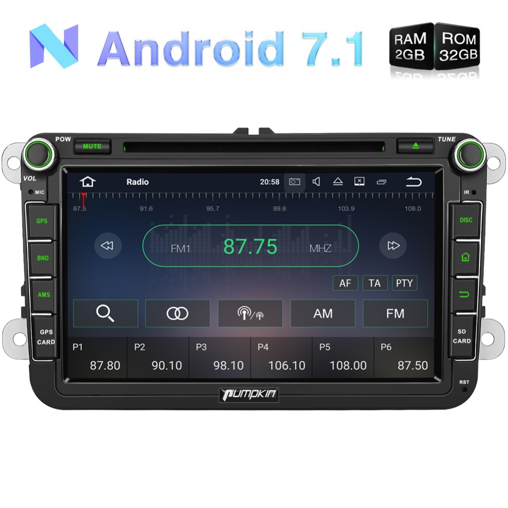 Pumpkin2 Din 8Android 7.1 Car Multimedia DVD Player For VW/Skoda/Golf GPS Navigation Quad-core Car Stereo Wifi Radio HeadunitPumpkin2 Din 8Android 7.1 Car Multimedia DVD Player For VW/Skoda/Golf GPS Navigation Quad-core Car Stereo Wifi Radio Headunit