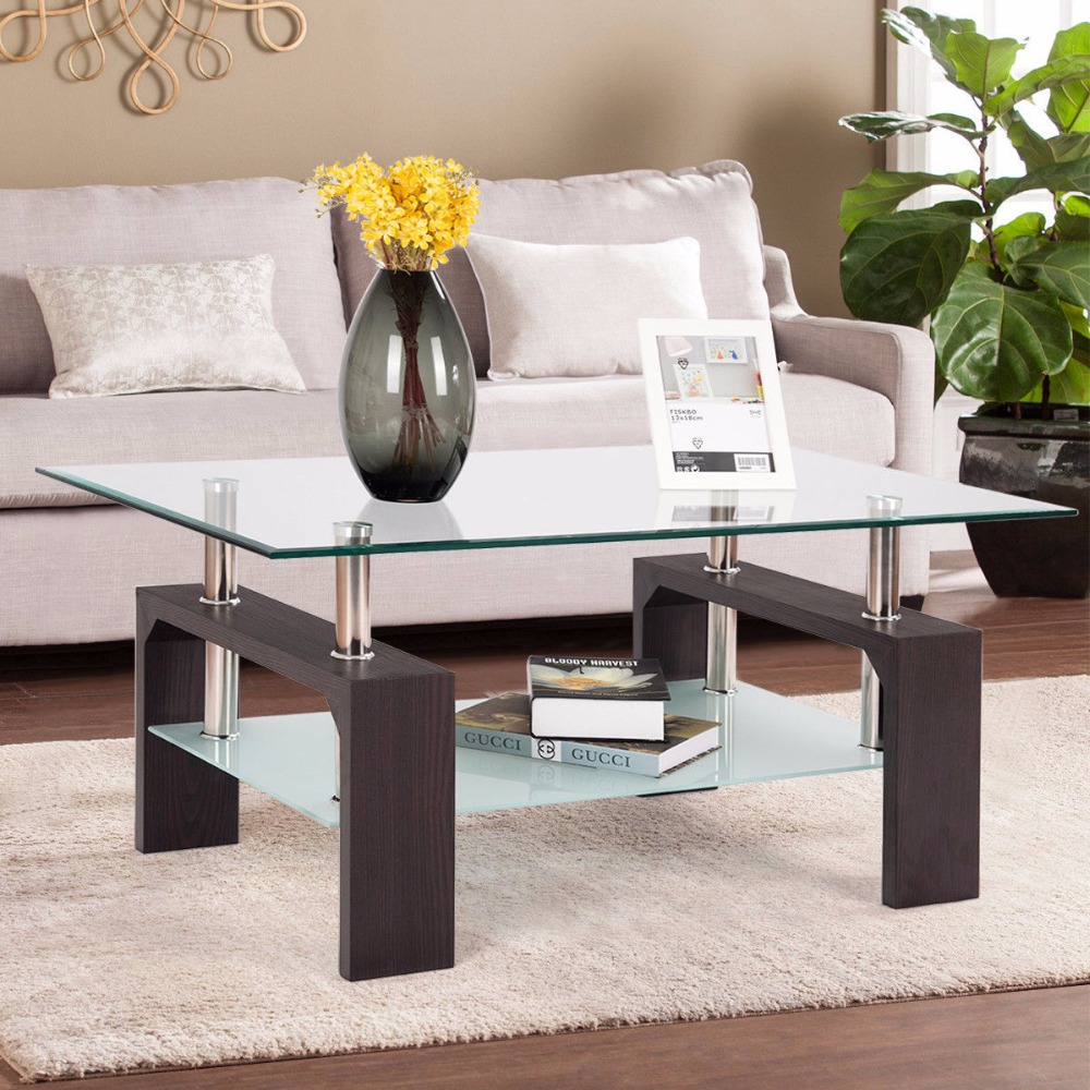 Giantex rectangular tempered glass coffee table end side - Brickmakers coffee table living room ...