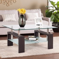 Giantex Rectangular Tempered Glass Coffee Table End Side Table with Shelf Home Furniture Living Room Furniture HW57279BN