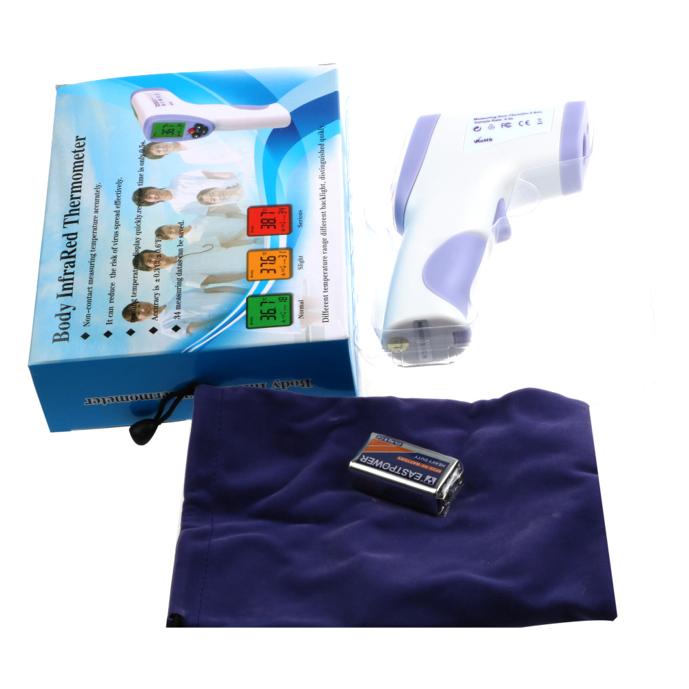 Gratis Pengiriman akurasi Tinggi Non-kontak IR Laser Tubuh Inframerah Digital Termometer LCD Permukaan Tubuh HT-820D 12 pcs / lot