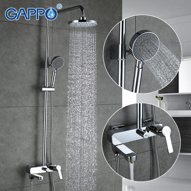 Go Bath Shower Faucets Set Bathtub Mixer Faucet Rain Tap Bathroom Head Stainless