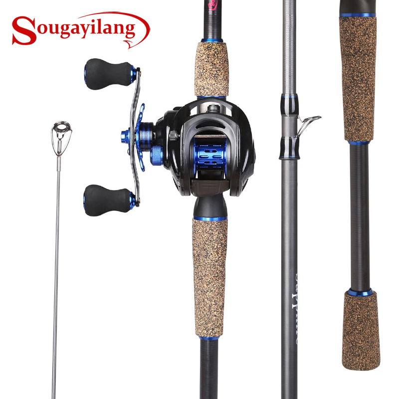 Sougayilang Telescopic Fishing Rod and Baitcasting Reel Sets Portable Lure Fishing Rod Kit Spinning Fishing Rod