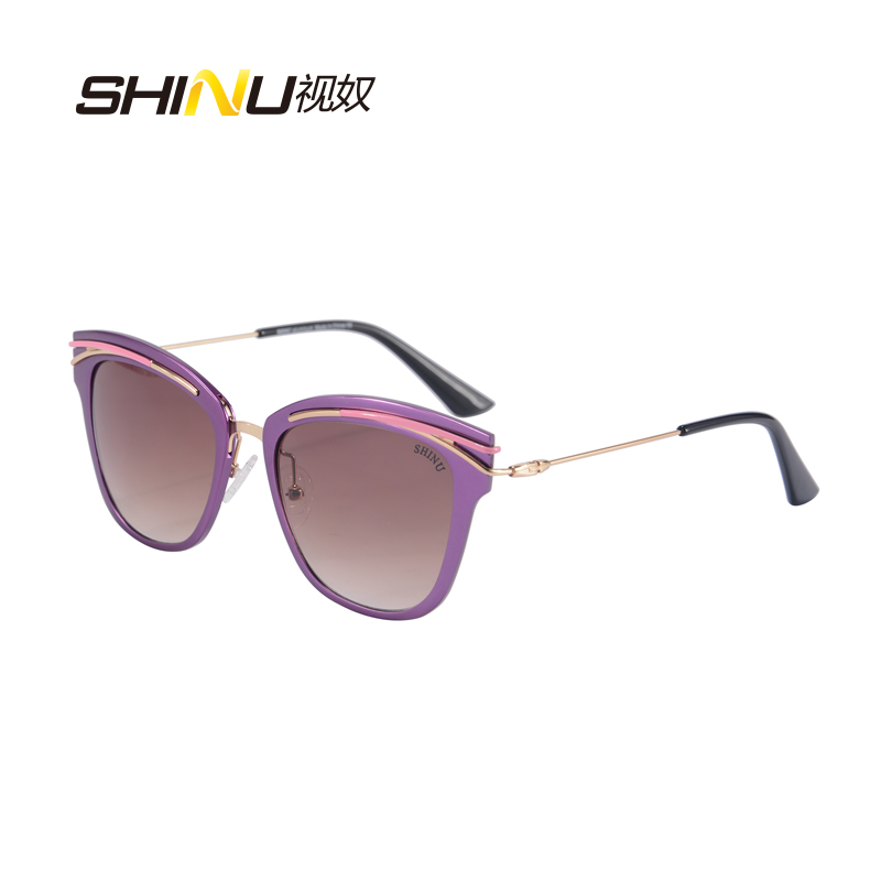 SHINU Women Sunglasses Luxury Brand Designer With Logo And Box UV400 Cat Eye Oculos De Sol Feminino SH710014