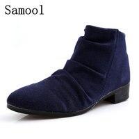 Samoolブランドファッション牛スエード男性アンクルブーツ、人気の英国スタイルのファッション男性ショートブーツ、男性チャッカジッパーブーツ