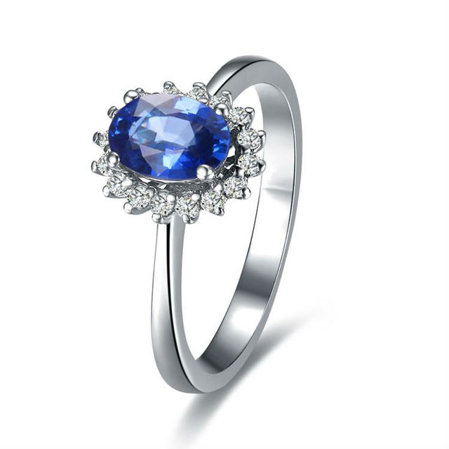 gvbori blue danube18k white gold blue sapphire gemstone ring for women natural diamond - Wedding Rings With Sapphires