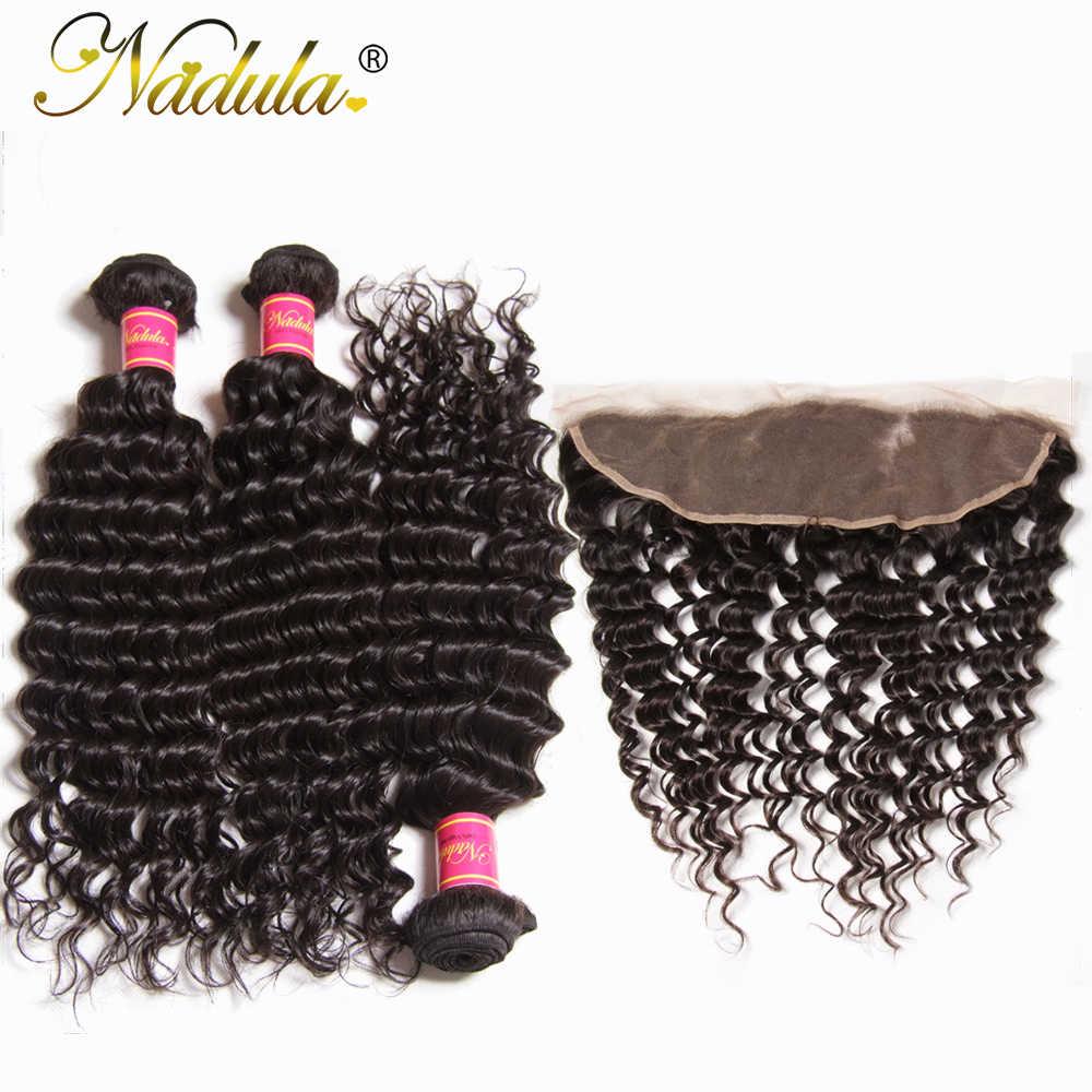 Nadula волосы перуанские глубокая волна с фронтальной 3 Связки с 13*4 свободная часть от уха до уха кружева закрытие 12-26 дюймов Remy волосы пучки