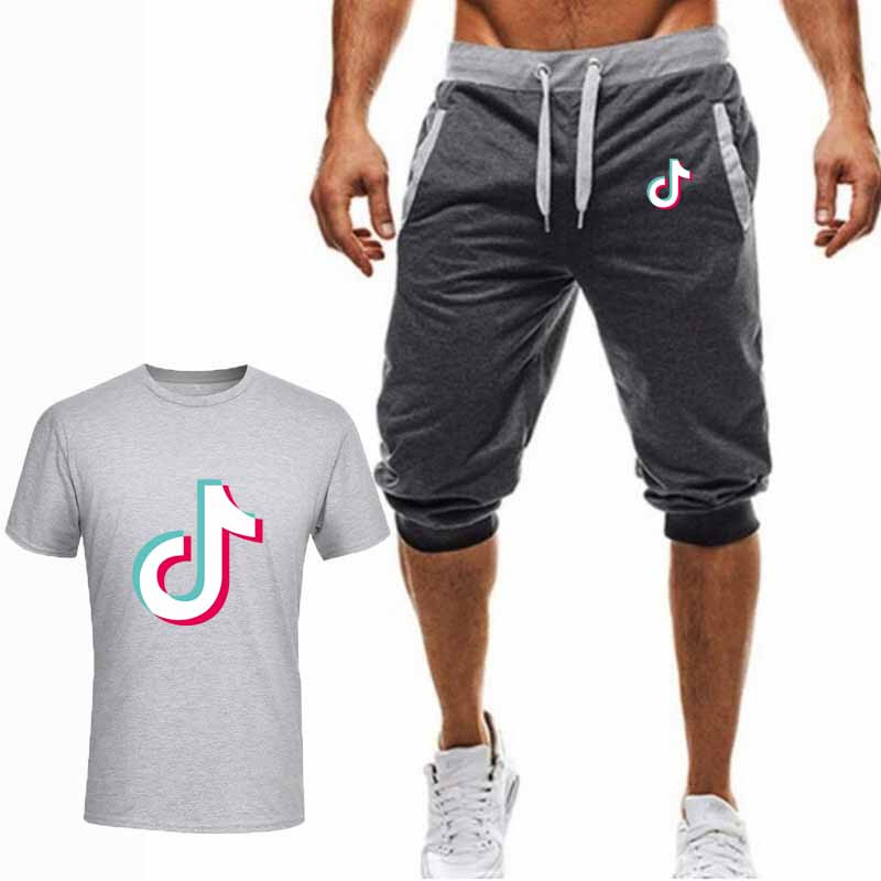 High quality Males's Units T Shirts+Shorts males Model Clothes Two Piece Units Tracksuit Vogue Informal Males Tshirts Gyms Exercise Units T-Shirts, Low-cost T-Shirts, High quality Males's Units T Shirts+Shorts...