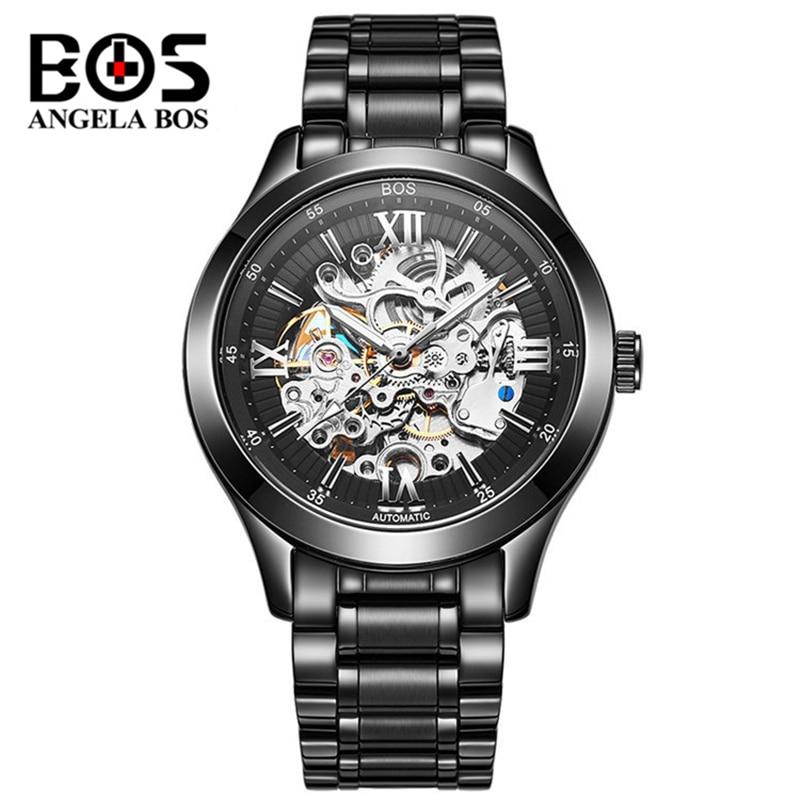 ANGELA BOS Gold Black Luminous Skeleton Watch Men Waterproof 3D Hollow Automatic Mechanical Wrist Watch Clock Saat Montre Homme