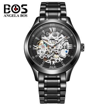 цена Top Brand Luxury Watch Waterproof Fashion Automatic Mechanical Wrist Watch For Men Clock Skeleton Black Gold Relogio Masculino онлайн в 2017 году