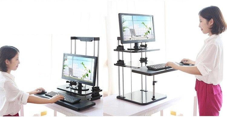 Support de bureau assis/debout support de bureau à trois niveaux réglable en hauteur léger support de bureau d'ordinateur portable portable/support de moniteur DLJ03
