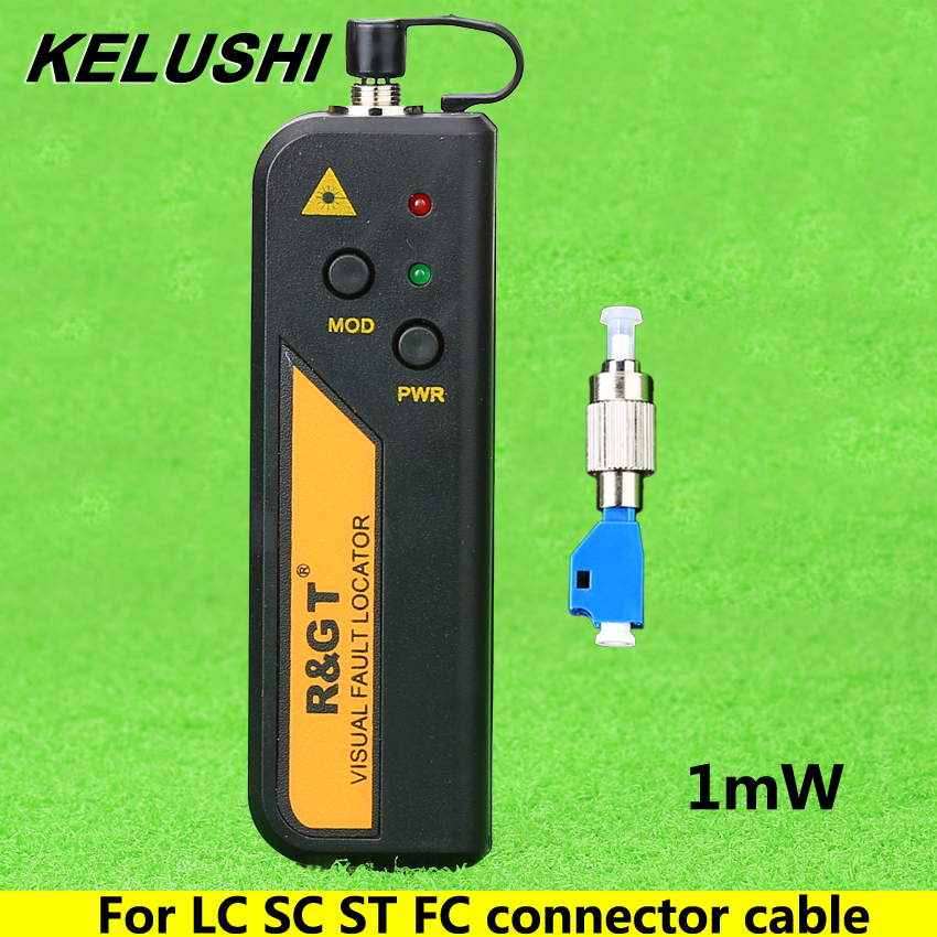 KELUSHI 1mW Visual Fault Locator Fiber Optic Cable Tester and LC/FC/SC/ST Adapter