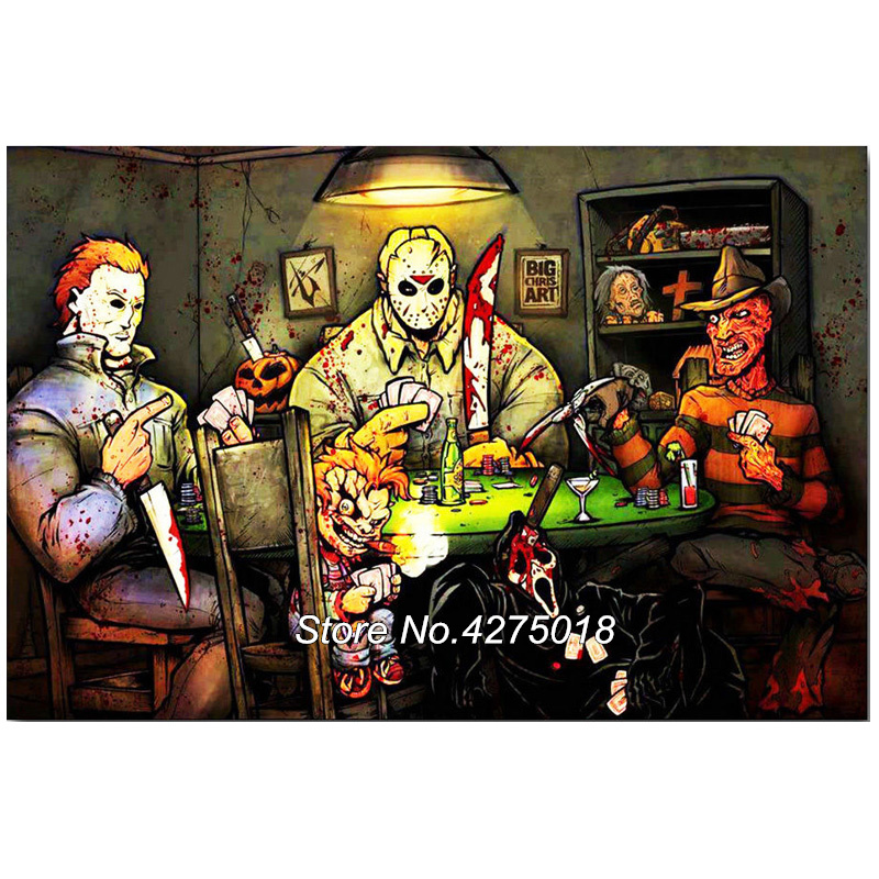 Diy Diamond Painting Cross Stitch 5D Diamond Embroidery Michael Myers vs Jason Voorhees SLASHERS Horror Movie Pop Decor CF813 image