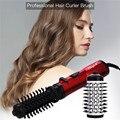 2 в 1 титановая Керамическая электрическая щетка для завивки волос Вращающийся Фен-щетка для завивки волос выпрямитель для волос Расческа с...