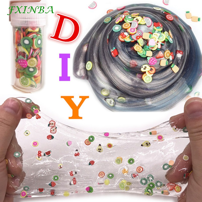 FXINBA 1 Piece Kawaii Fimo Fruit Slices For Slime Supplies/Nails Art Tips Clay Sprinkles Fruit Slices Slimes Toys Lizun Box DIY