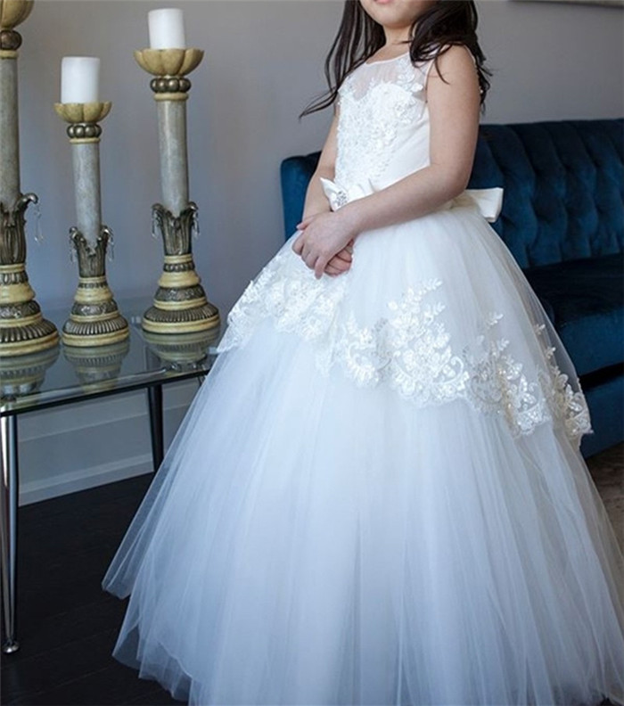 High Quality Real Pictures Flower Girls Dresses For Wedding White Lace Applique Puffy Tulle Girls Pageant Dress Communion Gown