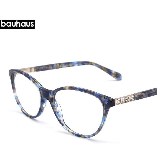 078a4583e5 Full R ITALY Design Crystal Decoration Temple Eyewear Brand Designer Women  Square Acetate Glasses Frames Retro