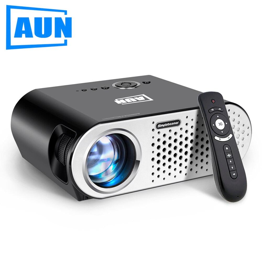 AUN Projecteur T90. 3200 Lumen, 1280*768 Pixel (projecteur Android en option avec Bluetooth WIFI), projecteur LED pour Home cinéma