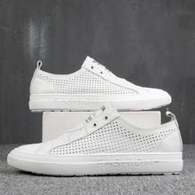 100% Genuine Leather Shoes Men Sneakers Male White