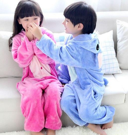 Unisex Kids Children Costume Cosplay Anime Animal Nightwear Onesie Sleepwear Blue Pink Stitch Party Halloween Pajamas