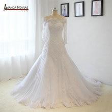 Chất Lượng cao Ren Appliques Dài Tay Áo A line Wedding Dress Bất Photos