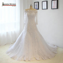 High Quality Lace Appliques Long Sleeves A line Wedding Dress Real Photos