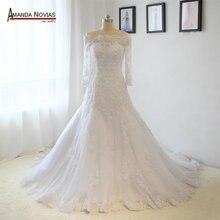 Yüksek kaliteli dantel Aplikler Uzun Kollu A line düğün elbisesi Gerçek Fotoğraflar