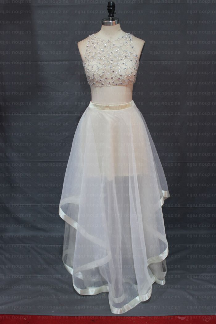 d79f526ce White Two Piece 2015 Graduation Dress Patterns A LIne O Neck Organza  Beading Long Elegant Prom Dress Plus Size Dress Vestidos-in Prom Dresses  from Weddings ...