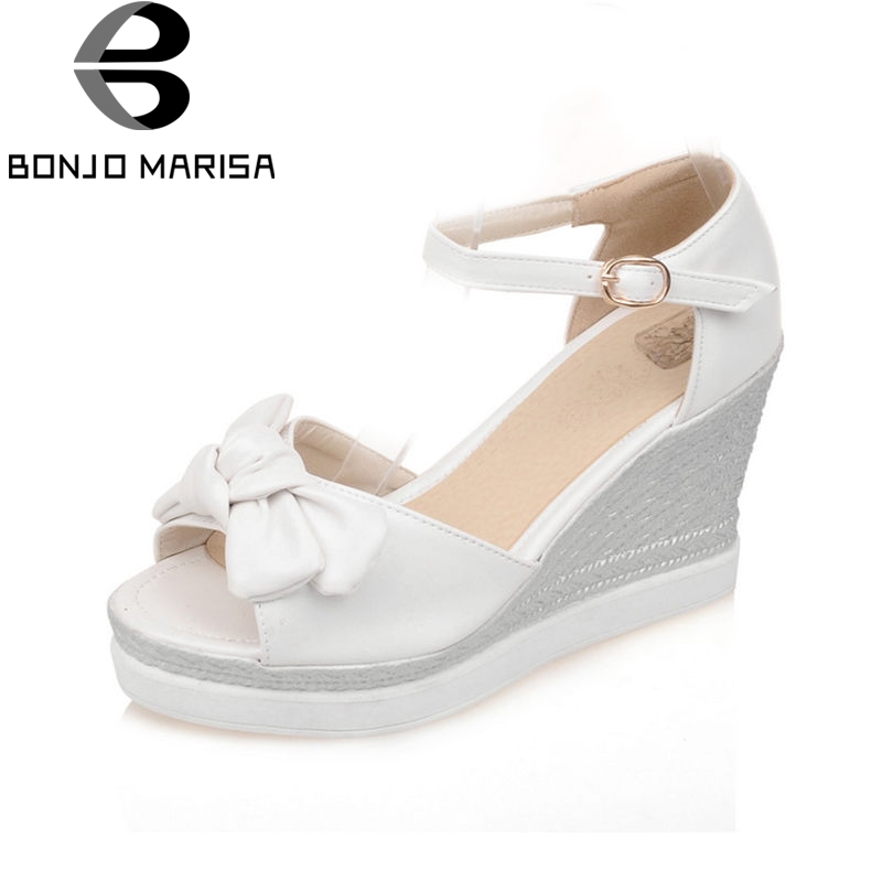 BONJOMARISA 2018 Summer New Arrival Sweet Bow Know Women Sandals Big Size 33-43 Platform Breathable Shoes Woman High Wedges Shoe