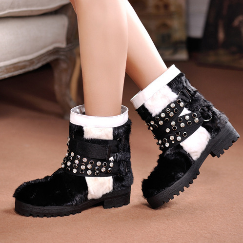 Women Winter Flats Genuine Leather Round Toe Match Colored Buckle Rhinestone Fur Fashion Ankle Snow Boots Size 35-39 SXQ0826 women winter flats genuine leather round toe match colored buckle rhinestone fur fashion ankle snow boots size 35 39 sxq0826
