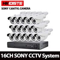 AHD 16CH 1080N DVR 1080จุดNVR 1200TVL 1.0MP HDกลางแจ้งกล้องรักษาความปลอดภัยระบบ16 Channelกล้องวงจรปิด