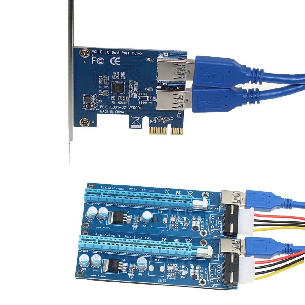 PCIe Riser Card 1-2 pci-e 1X pci-e 16X слот с USB 3.0 Мощность добыча кабель адаптер Conveter для Bitcoin ...