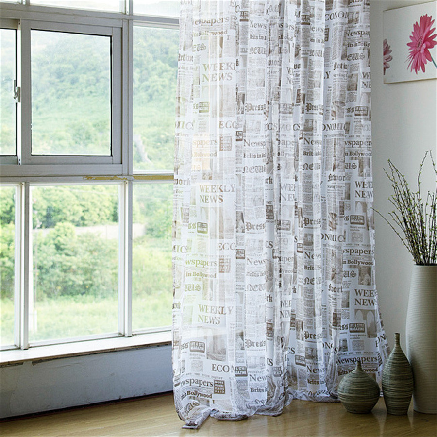 Hot Sale Newspaper Window Tulle Sheer Curtains For Living