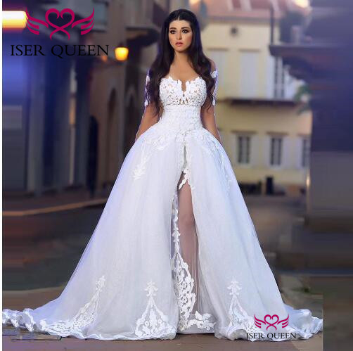 Sexy Embroidery Wedding Dress 2 In 1 Long Sleeves Wrap Romania Stylish Wedding Gowns Tulle Pure White A-line Court Train W0455