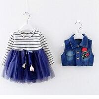 Dzieci Girls Dress 0-3 Lat Jesień New Fashion Style dziewczyna Denim Sukienki Kwiat 1 rok Urodzin Dziewczynek Ubrania A017