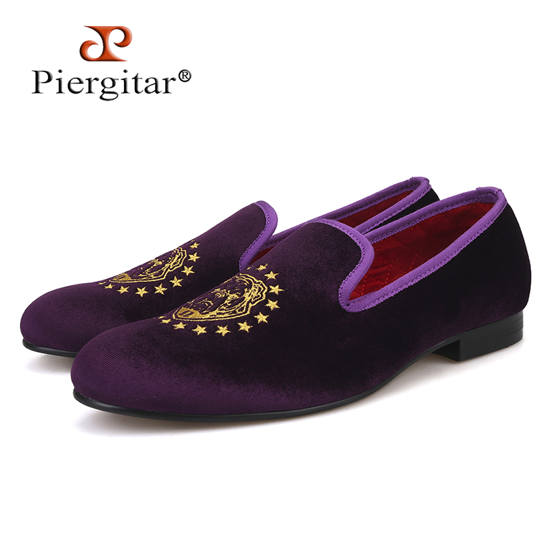 Piergitar 2018 new arrival men purple color velvet shoes with delicate embroidery Party and Prom men dress shoes men's loafers piergitar new arrival men black velvet shoes with black patent leather toe rivets prom and party men dress shoes male s loafers