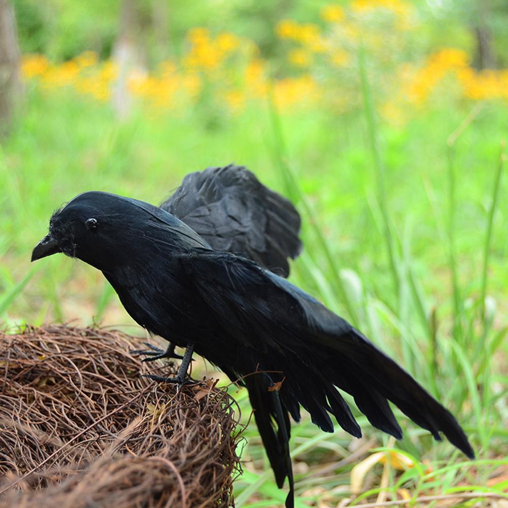 Artificial Horror Dark Feather Raven Crow Prop Craft Garden Party Ornament Filmy