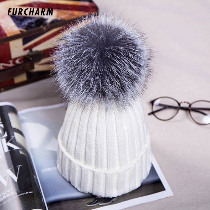Women's Knitted Cap with 12cm Silver Fox Fur Pompom Tops Caps Fashion Winter Hats Skullies Beanies Female Cap